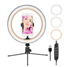 10 ring light  dimmable table lamp self-timer with tripod stand and mobile phone holder, leading camera