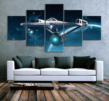 5 Piece Star Trek Movie Poster Fantasy HD Wall Picture Outer Space Universe Spaceship Poster Canvas Painting Wall Art Home Decor(China)