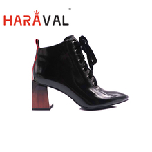 HARAVAL New Fashion Women Ankle Chelsea Boots Boots boots Spring Autumn Low heels Genuine leather women shoes Boots Factory E34