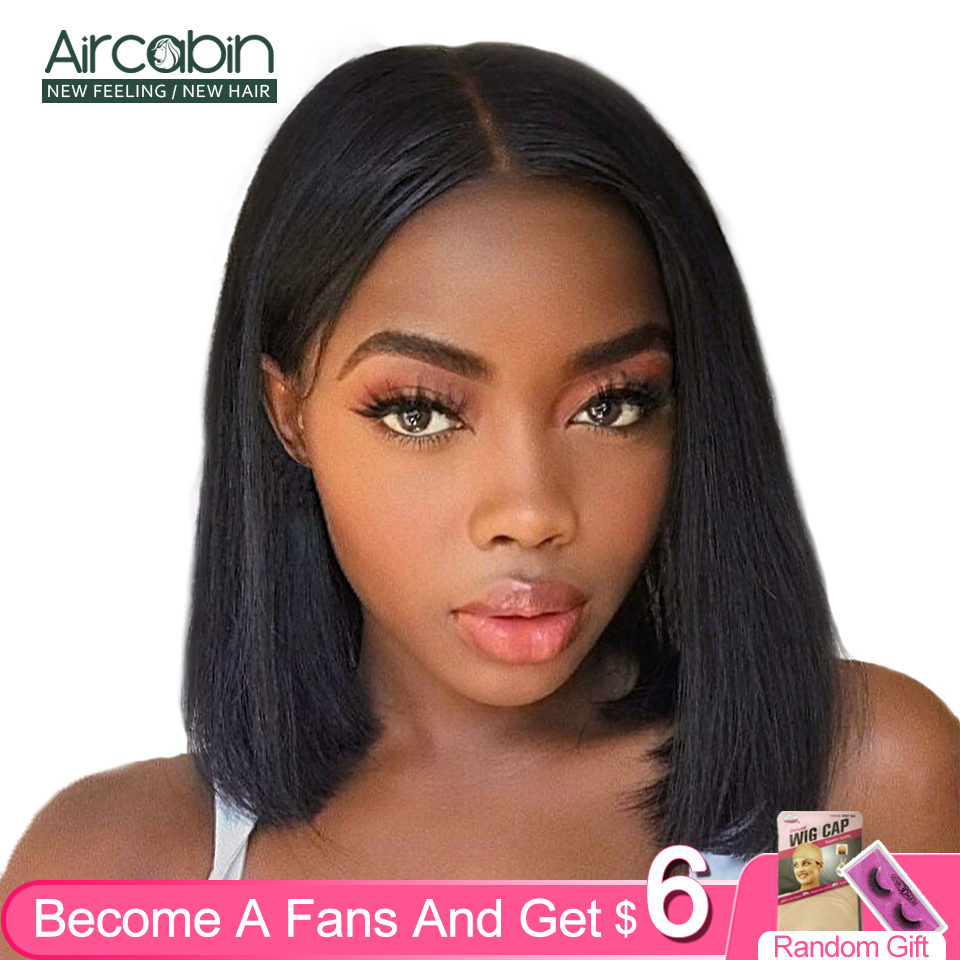 Aircabin Brazilian Straight Remy Human Hair Bangs Bob Wigs For Black Women Short Glueless 4x4 Lace Frontal Closure 150% Density