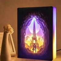 Luce di Notte della novità Totoro Carta tagliata Atmosfera Lampada 3D Carta Intagliare Decorazione di Arte Lampada di Potere del USB per Soggiorno camera da letto