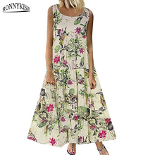 RONNYKISE Floral Printed Dresses Womens Fashion Sleeveless A-Line Retro Maxi Dress Summer Autumn Casual Plus Size