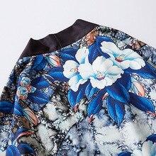 Харадзюку Цветочный Кимоно Куртка Японский Хип Хоп Мужчины Уличная одежда Куртка Синий Листья Цветок Принт 2020 Лето Тонкое Платье Япония Стиль