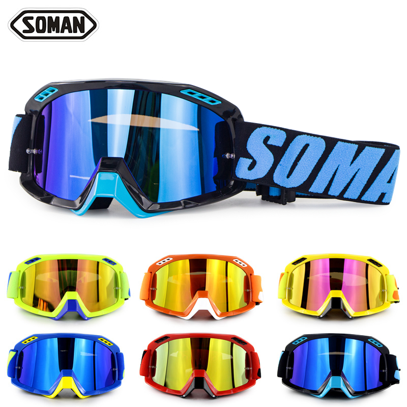 SOMAN Motorcycle Glasses Dirt Bike Motocross Goggles Gafas Motocross Cool Moto Goggle Oculos De Cross  Motorcycle Helmet Goggles