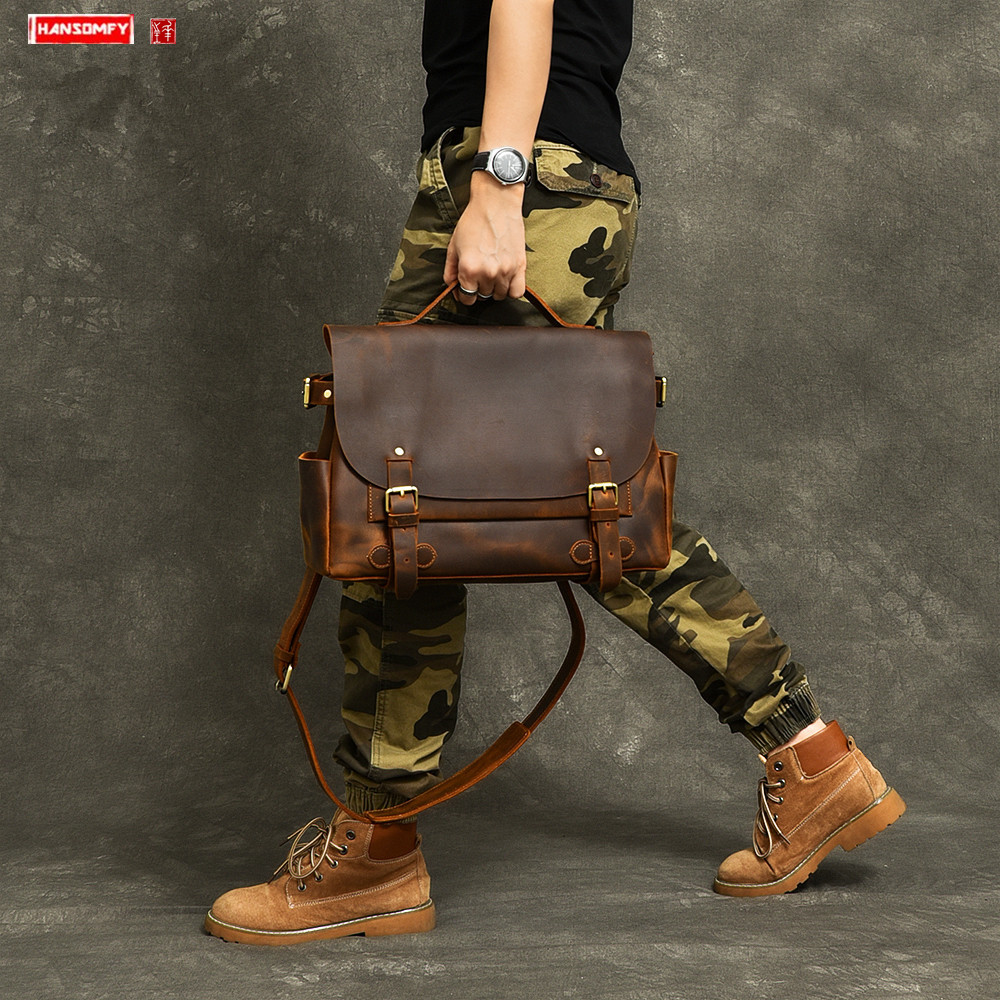 New Genuine Leather Men's Handbags Retro Handmade Crazy Horse Leather Laptop Bag Briefcase Men Leather Shoulder Messenger Bags