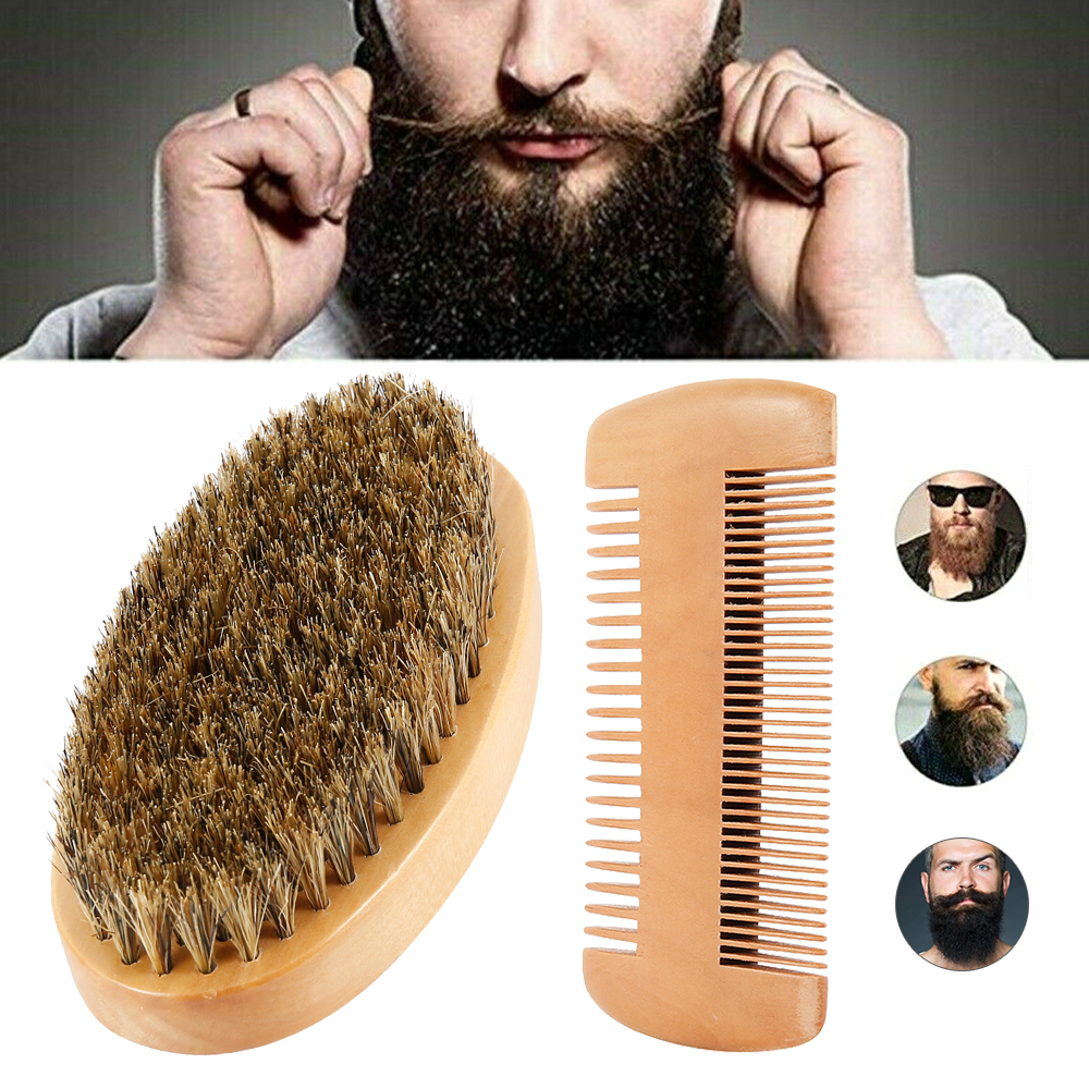 2pcs/set Men's Beard Brush Comb Kit Natural Boar Bristle Beard Brush For Men Bamboo Facial Hair Brush Set Drop Shipping