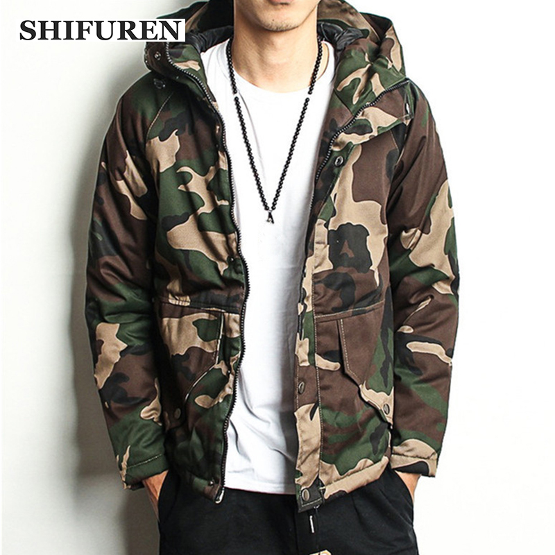 SHIFUREN Winter Warm Hooded Parka Men Jackets Cotton-padded Chaquetas Hombre Male Casual Camouflage Overcoat Size S-XXXL
