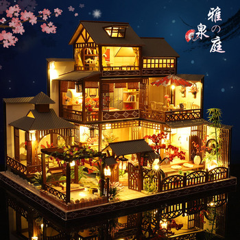 Newest DIY Wooden Dollhouse Japanese Architecture Doll Houses Mininatures With Furniture Toys For Children Friend Birthday Gift