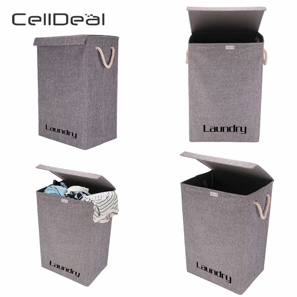 CellDeal Large Stand Washing Dirty Clothes Folding Laundry Basket Storage With Lid Laundry Baskets Organizer Bin Handle