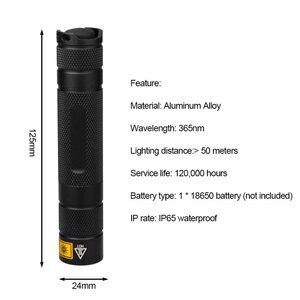 Image 5 - Uv lanterna led 365nm ultra violetas ultravioleta ip65 à prova dip65 água invisível tocha para manchas pet caça marcador verificador