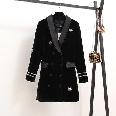 Высококачественная брендовая одежда Платье черного цвета осенние Для женщин из бархата, украшенная стразами с длинным рукавом, двубортное, короткое платье vestidos - Цвет: black