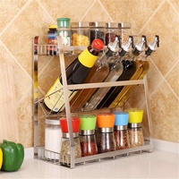 3 Layers Kitchen Spice Rack 304 Stainless Steel Countertop Spice Jars Bottle Shelf Kitchen Organizer Shelf Storage Holder Black