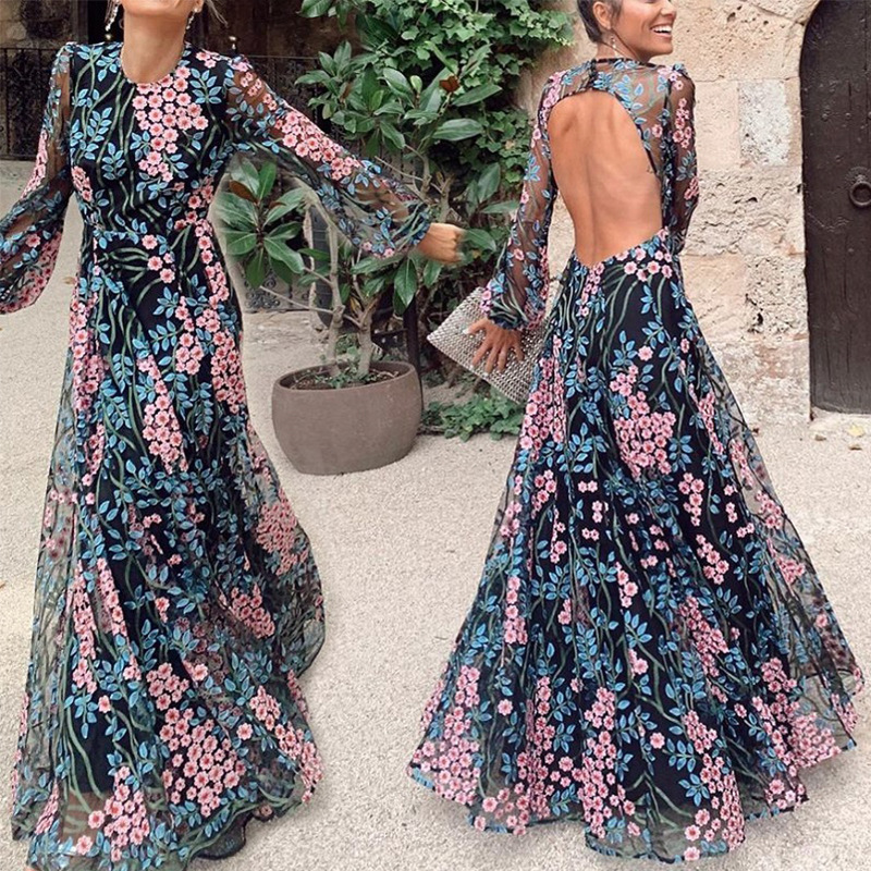 2020 Sexy O Neck Fulll Sleeve Flower Printing Long Evening Dresses Sexy Open Back Elegant Long Dresses Evening Robe De Soirée