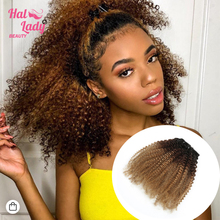 Weaves Human-Hair-Extensions Remy-Hair Curly Brazilian Halo Dark-Light Afro Brown Kinky