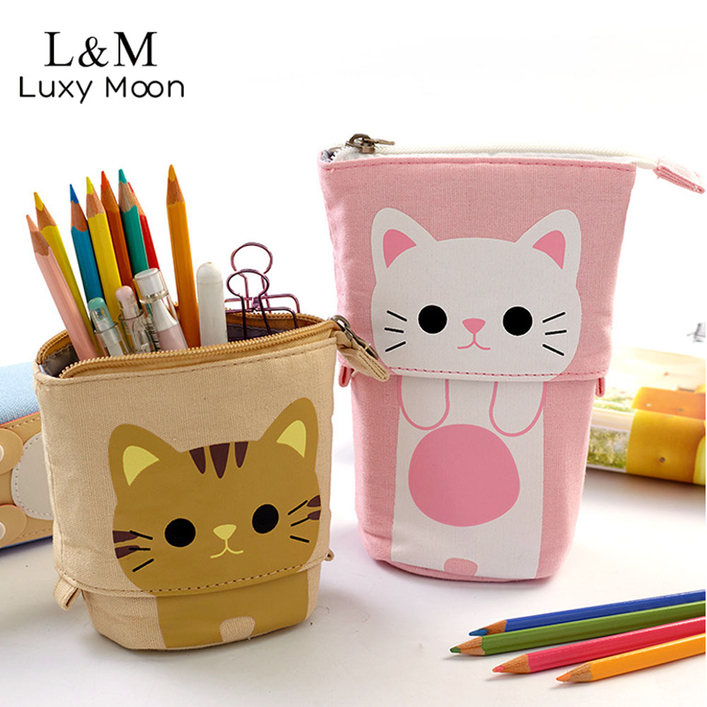 Cute Scalable Pencil Bag Kawaii Cat Animals Pen Case Zipper Pouch For School Students Pen Bags Box For Stationery XA7H