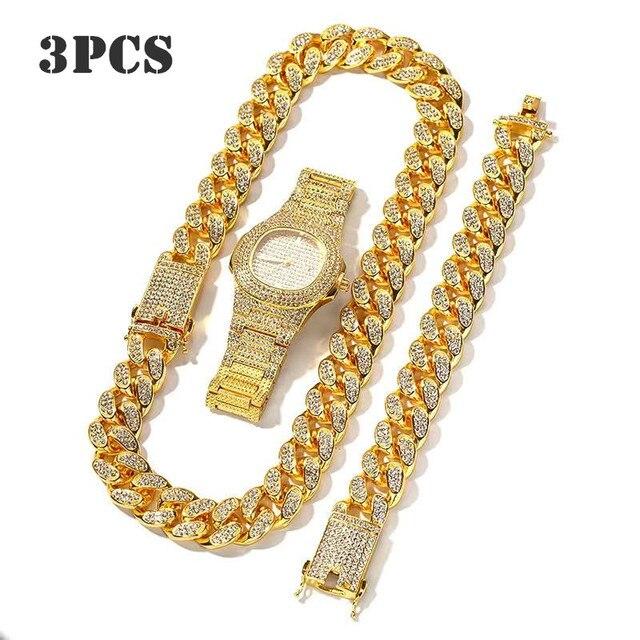 Collar, reloj y pulsera para hombre, cadena cubana de Miami, Color dorado con diamantes de imitación incrustados, joyería de rapero ostentosa CZ, 3 uds. 1