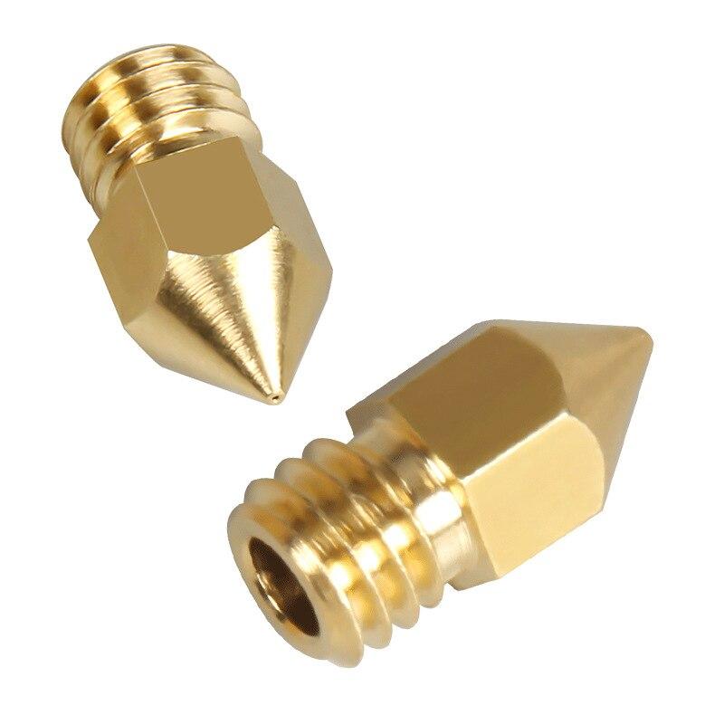 Mk8 brass nozzle 3d printer accessories 0.1mm 0.2mm0.3mm 0.4mm 0.5mm 0.6mm head for 1.75mm mk8 pointed brass nozzle