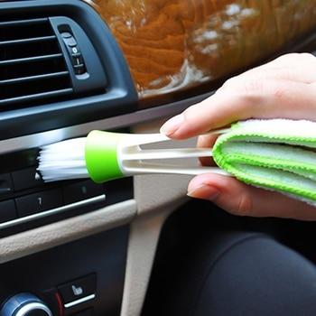 Cepillo multiusos de limpieza de ventanas y salida de aire acondicionado para coche con doble deslizador cepillo de ventilación cepillo para limpieza de teclado automático para ordenador
