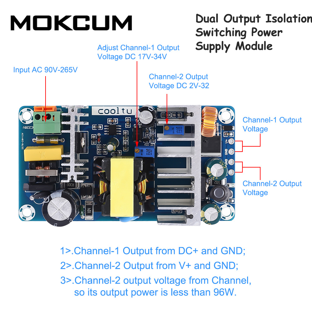 Dual Output Isolation Switching Power Supply Module Adjustable Buck Step Down Module AC-DC Converter 110V 220V to 12V 24V 36V