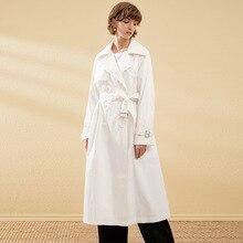 White Trench Coat Women Double Breasted Windbreaker Black Duster Cotton Long Overcoat sobretudo feminino Oversize Clothes