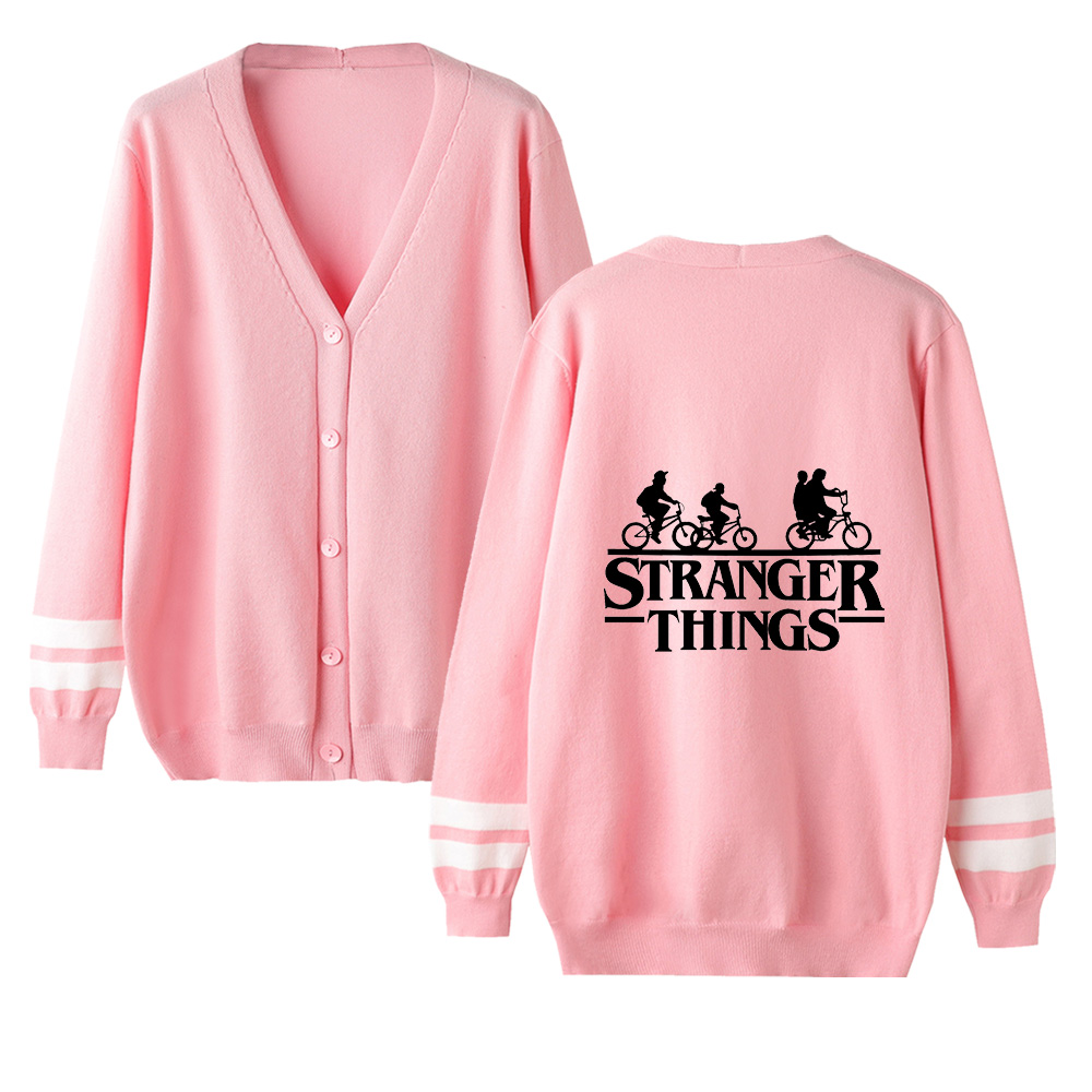 Stranger Things V-neck Cardigan Sweater Men/women New Sale Fashion Pink Casual Harajuku Sweater Stranger Things Casual Tops