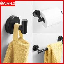 цена на Towel Holder Black Stainless Steel Towel Bar Bathroom Hook for Towels Coat Rack Toilet Paper Holder Bathroom Accessories Black