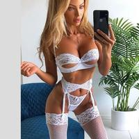 3pcs Set Women Transparent Bra Set + Garter Black Sexy Lingerie Lace Lenceria Plus Size Underwear
