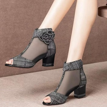 2020 NEW Sandals Boots Mesh Lace Shoe Woman Ankle Boots Peep toe High Heeled Sexy Shoes Back Zip Chunky Heel Flower Black  Red lace up back block heeled boots