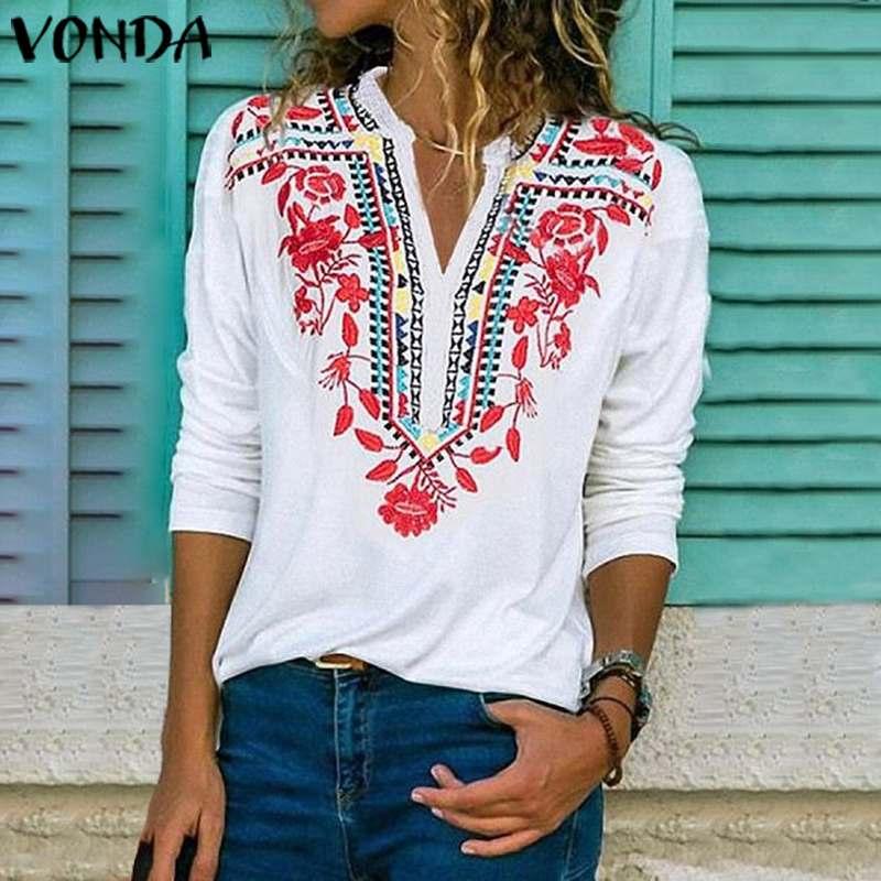 VONDA Women Blouse Sexy V Neck Long Sleeve Print Blouses 2020 Spring Autumn Shirts Vintage Party Tops Loose Bohemian Tunic 5XL