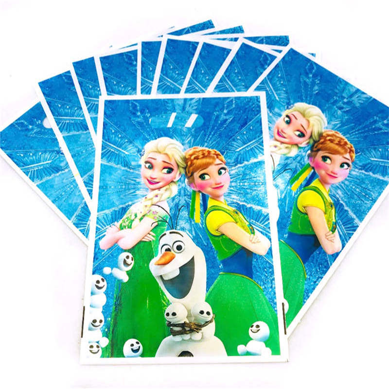 Princess Elsa & Anna Theme 10pcs/Lot Small Gift Bags Plastic Bags Loot Bags For Candy Frozen Birthday Party Decoration Supplies