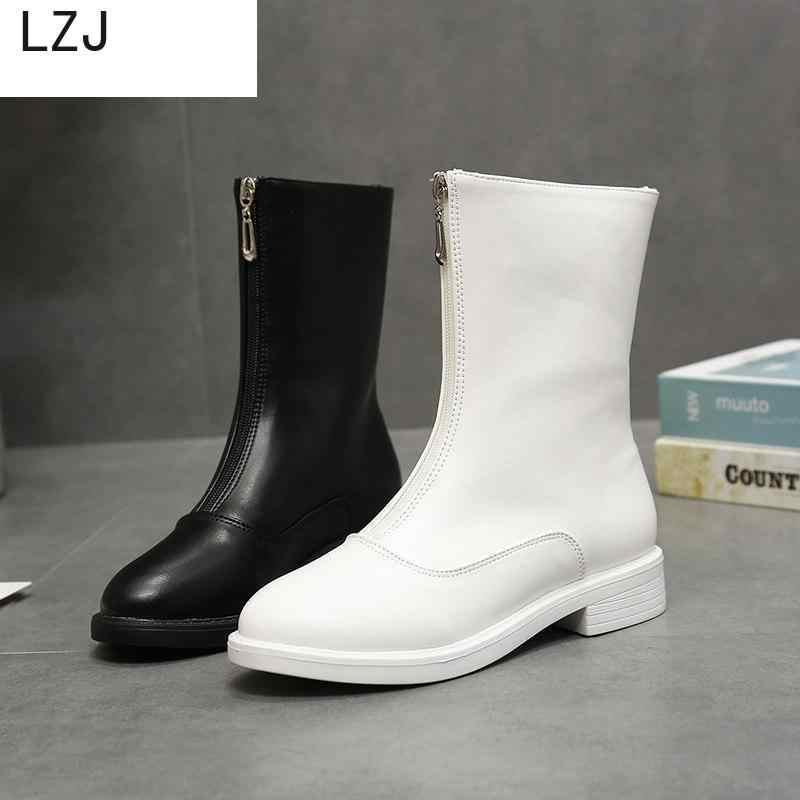 LZJHOT Ilkbahar Ve Sonbahar Yeni Moda Botlar Takozlar Yuvarlak Kafa Avrupa Amerikan Kadın Ayakkabı Beyaz Çizmeler Deri Çizmeler Kar Botları