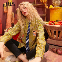 Shirt Women Daily-Tops Casual Blouse Colorblock Long-Sleeve Plaid Print Yellow Ladies
