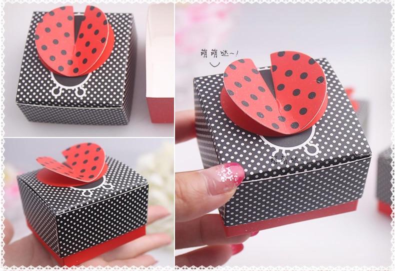 100 pièces cadeau bonbons boîtes de fête de mariage faveur bébé douche faveur cadeau boîte coccinelle fête faveurs boîtes décoration