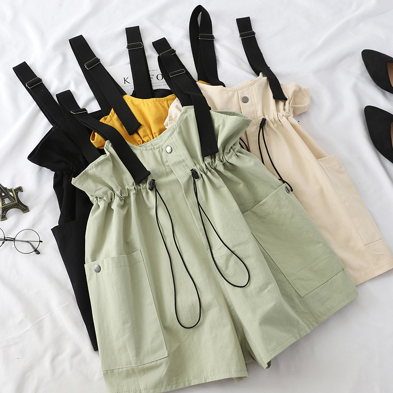 Overalls Female Rompers Adjustable Drawstring Playsuits Button Rompers Elastic Waist Lady 2019 Summer Fashion Playsuits