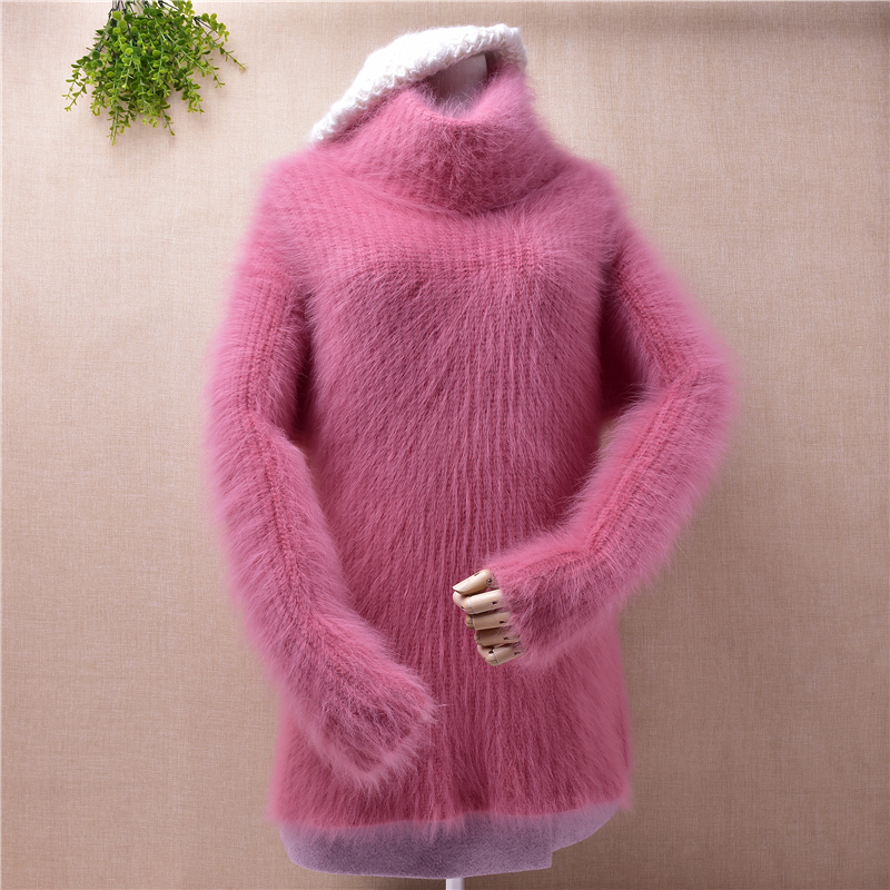 Fashion korean ladies women thick turtleneck striped mink cashmere long sleeves pullover angora fur knit sweater jumper blouses