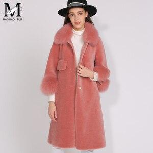 Image 2 - MAOMAOFUR الصوف معطف المرأة فراء ثعلب حقيقي طوق صفعة الدافئة أبلى السيدات جديد أزياء نمط طويل حقيقية الأغنام الفراء سترة