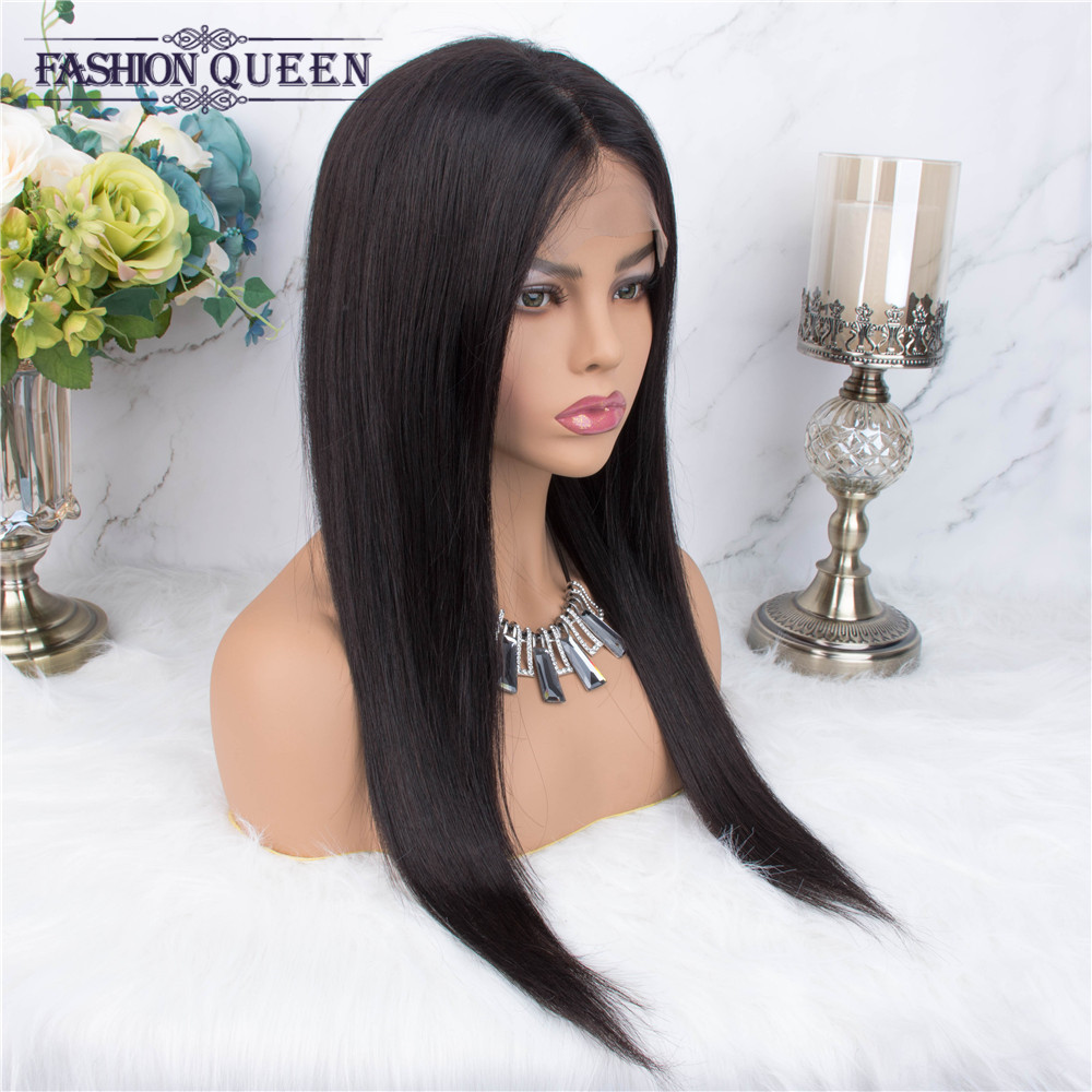 Human Hair Wigs For Women Non Remy 4×4 Lace Closure Wig With Baby Hair Brazilian Straight  Wig Hair Natural Color Fashion Queen
