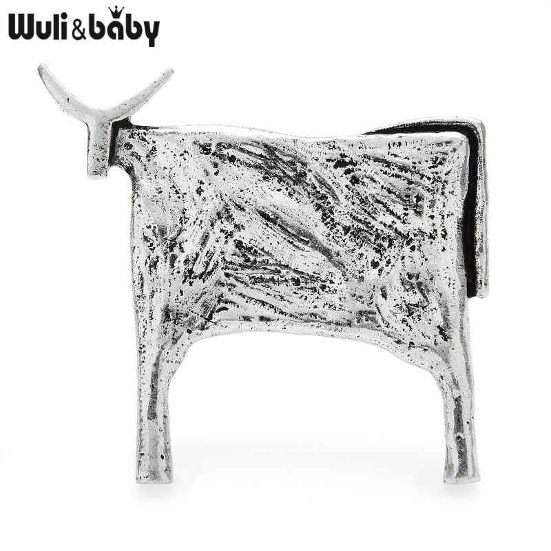 Spille per bovini Vintage Wuli & baby per donna accessori per gioielli con spilla di capodanno animale Unisex
