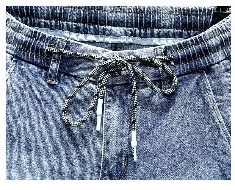 KSTUN Men Jeans 2020 Light Blue Denim Stretch Jogger Pants Man Fashion Side Rivets Casual Haren