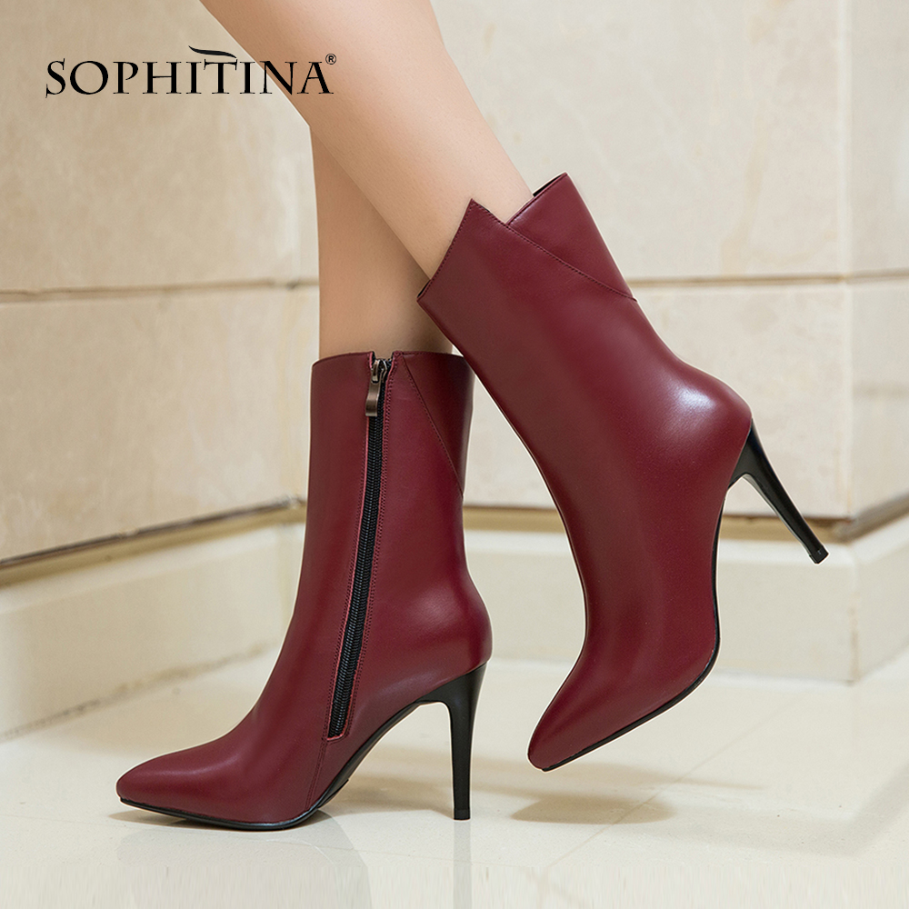 Image 4 - SOPHITINA Sexy Thin Heel Boots High Quality Genuine Leather  Fashion Pointed Toe Handmade New Shoes Zipper Womens Boots  PO282Mid-Calf Boots