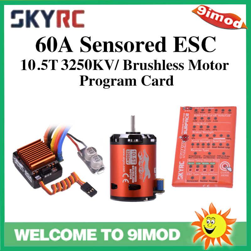SkyRC Cheetah 1/10 60A Sensored ESC + Cheetah 10,5 T 3250KV Motor sin escobillas tarjeta Combo sistema de alimentación para 1/10 1/12 coche RC