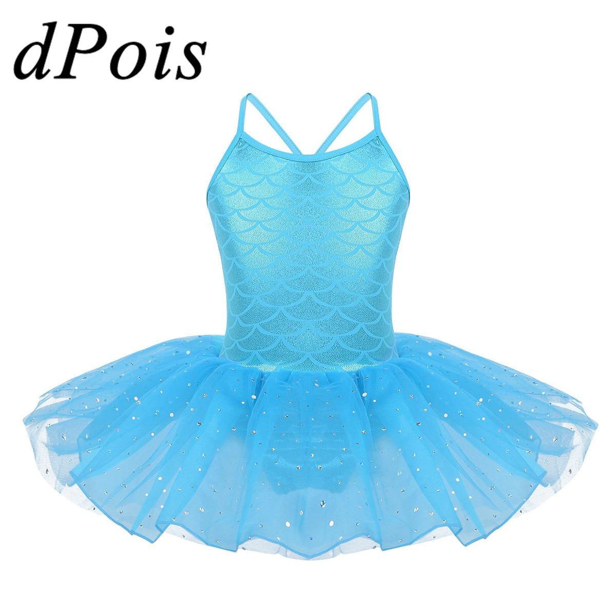 Girl Gymnastics Ballet Dance Dress Leotard Sequin Tutu Skirt Ballerina Dancewear