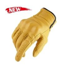 Перчатки мужские из натуральной кожи, винтажные мотоциклетные перчатки в стиле ретро, для сенсорных экранов, с закрытыми пальцами, желтые
