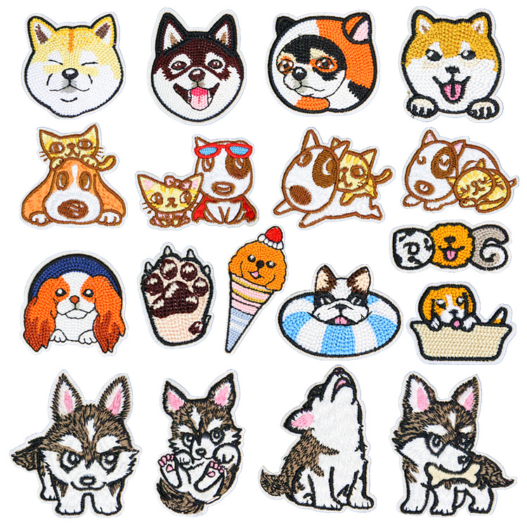 Cartoon Husky Dogs Clothing Patches Iron On Stripes For Badges Stickers On Clothes Embroidery Cute Shiba Inu Animal Appliques @D