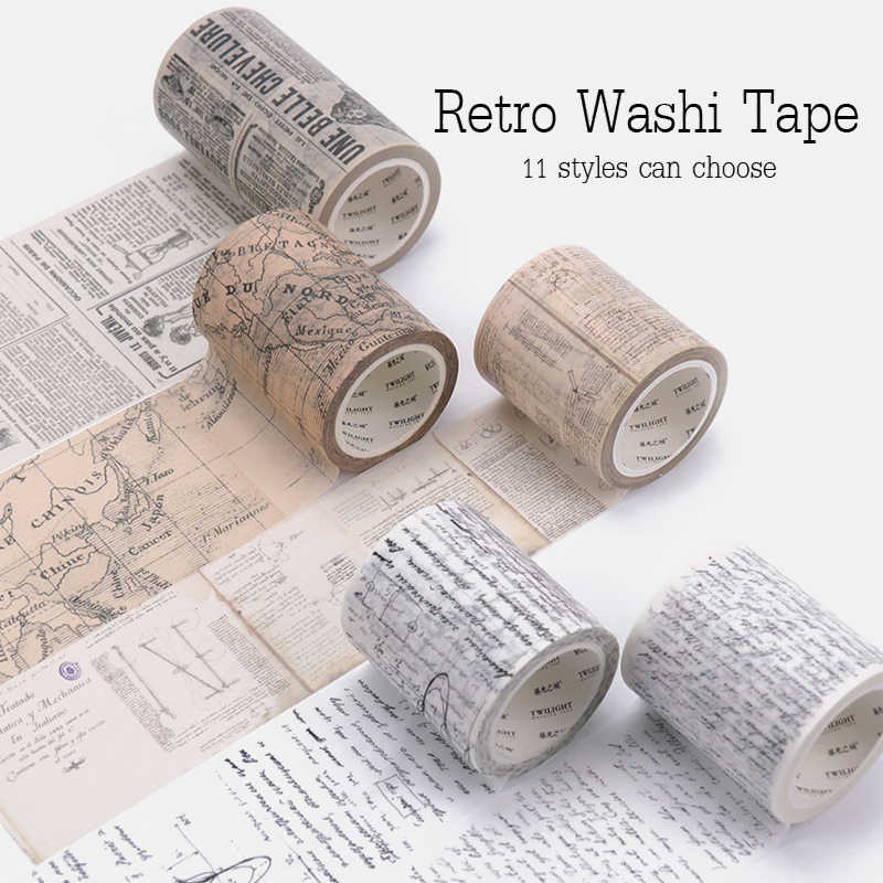 Retro เทป Washi ตกแต่งล้าง bullet Journal Washi decorada VINTAGE VINTAGE ตกแต่ง Scrapbooking Masking Washi Tape