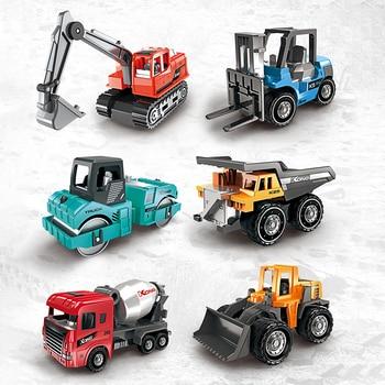 1:64 Kids Diecast Engineering Toy Vehicle Alloy Car Model Excavator Bulldozer Forklift Dump Truck Mixer 6pcs Mini Toys