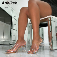 Women Shoes Mules Transparent Slippers Clear High-Heels Slides Square Fashion PVC Aneikeh
