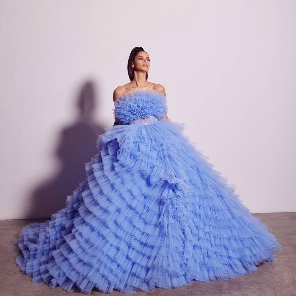 Elegant Strapless Prom Dresses Puffy Tiered Tulle Show Formal Dress Abendkleider Evening dress Party Gowns Robe de soirée Custom