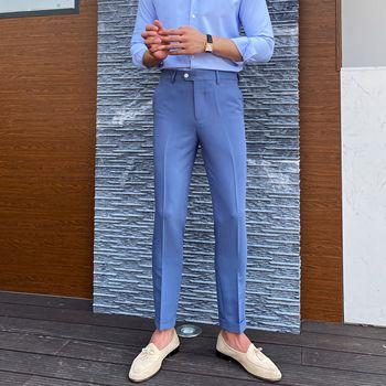 Dżentelmen luksusowe spodnie brytyjska Moda koreańskie męskie spodnie biurowe 3 sukienka w jednolitym kolorze spodnie Erkek Pantolon chudy krój Moda Masculina tanie i dobre opinie NSTOPOS L4722 POLIESTER W STYLU ANGIELSKIM Spodnie garniturowe 29-36 business pants suits men men dress pants mens business trousers