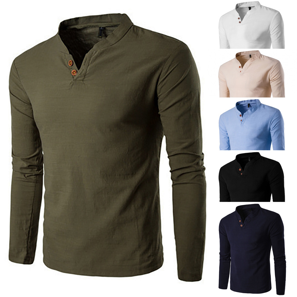 Shirt Tops Blouse Long-Sleeve Loose Classic-Style Male Men Winter Casual Autumn Tee title=